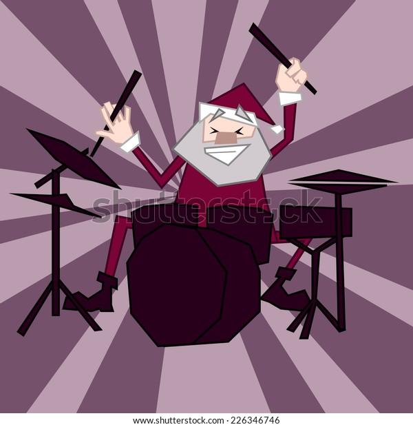 Santa Claus. Drummer. Music.