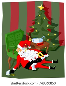 santa claus drunk from drinking eggnog spiked with rum, a funny vector illustration