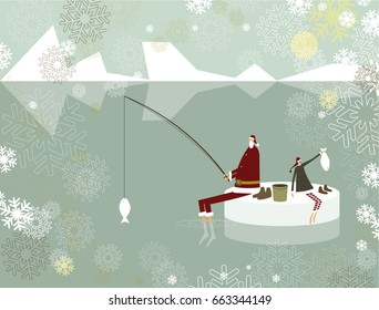 Santa Claus and elf fishing