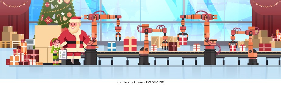 santa claus elf helper hold checklist conveyor system industry new year merry christmas concept flat horizontal banner vector illustration
