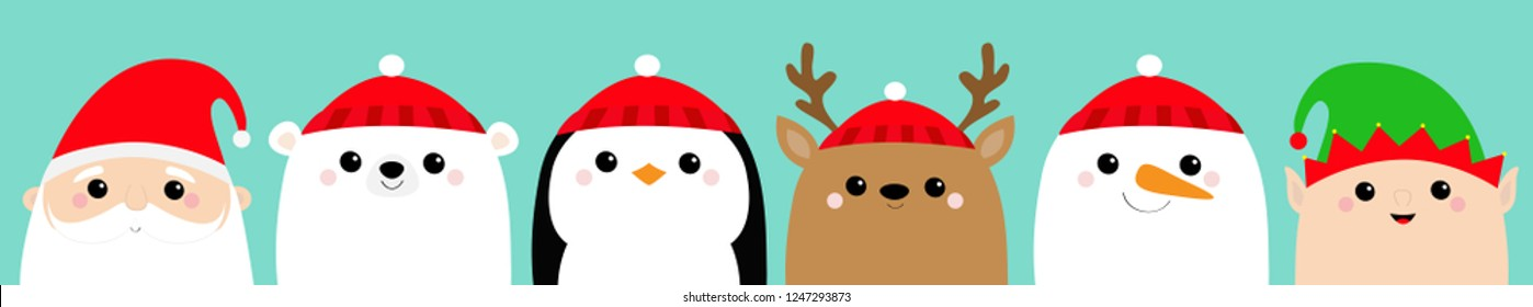 Santa Claus Elf White polar bear Raindeer Deer Snowman Penguin bird face icon set. Merry Christmas. New Year. Cute cartoon funny kawaii baby character. Greeting card Flat design Blue background