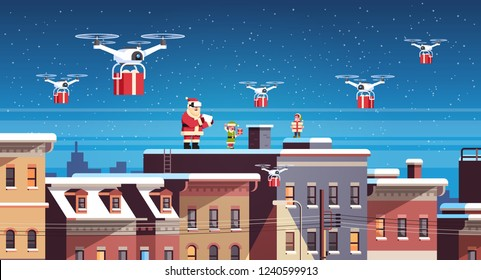 santa claus with elves on roof hold controller drone delivery present service happy new year merry christmas holiday concept flat horizontal