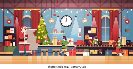 santa claus with elves putting gifts on machinery line conveyor happy new year christmas holidays celebration concept modern workshop interior horizontal vector illustration