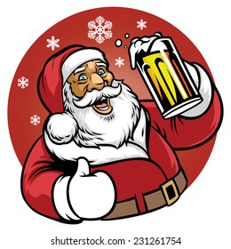 santa claus enjoy a glass of beer
