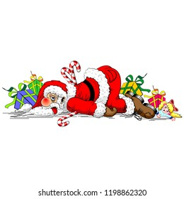 Santa Claus Exhausted Funny Christmas Cartoon Character