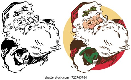Santa Claus extends a hand in a holiday Christmas greeting