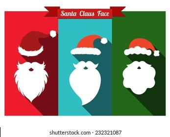 Santa claus face flat icons with long shadow. Set of santa hats and beards.