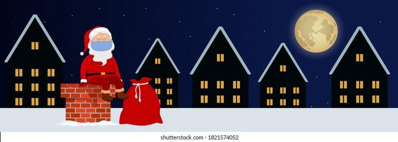 Santa Claus in face mask sitting on chimney. Cartoon. Vector illustration.