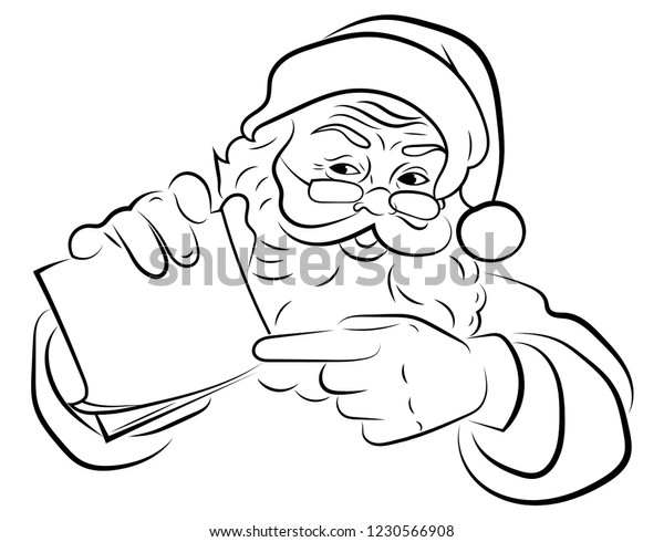 Christmas Images Black And White.Santa Claus Face Portrait Santa Black Stock Vector Royalty