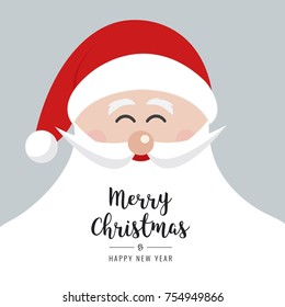 santa claus face smile big beard christmas gretting text card background