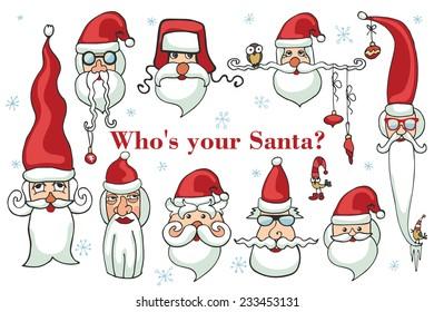 Santa Claus faces. Humor Christmas,new year.Vector set