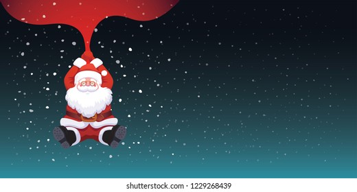 Santa Claus falling on night dark blue sky background holding red bag snow falling