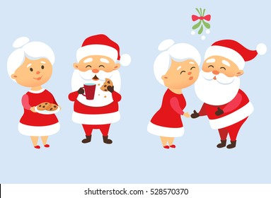 Santa Claus family Christmas set. Santa kiss his wife Mrs. Claus under mistletoe. Romantic tradition. Father Frost eating a cookie and drinking milk. Xmas character design