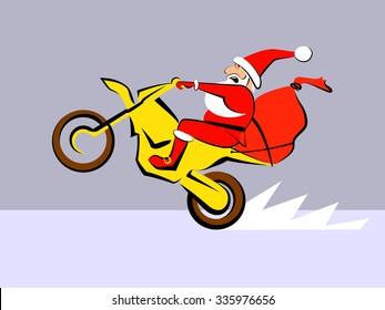 Santa Claus fast ride motorcycle Vector illustration