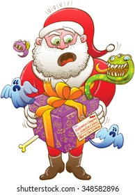 Santa Claus feeling nervous, surprised and scared after having received a weird Christmas present, wrapped in a purple paper and decorated with an orange bow, from Halloween creepy creatures