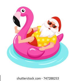 Santa Claus with flamingo inflatable ring.Tropical Christmas. Vector illustration.
