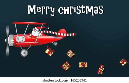 Santa Claus in the flaying plane, sprinkle gifts
