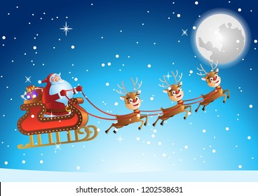santa claus fly in sky at xmas night to send gift to people,vector illustration