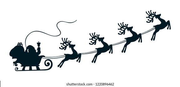 Santa Claus flyin on Christmas sleigh – vector