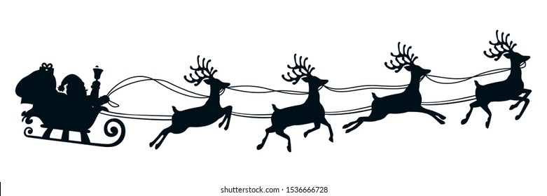 Santa Claus flyin on Christmas sleigh silhouette – stock vector