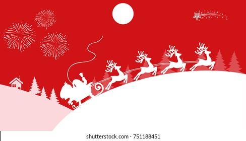 Santa Claus flyin on Christmas sleigh – vector for stock