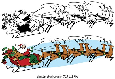 Santa Claus flying across the sky on Christmas Eve in his sleigh pulled by his flying reindeer.