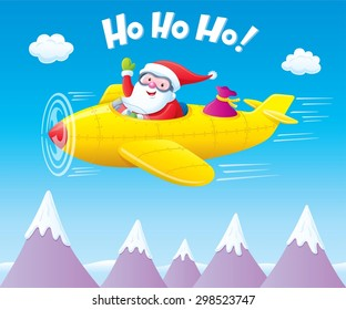 Santa Claus Flying An Airplane with Presents