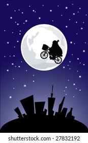 Santa Claus flying bicycle