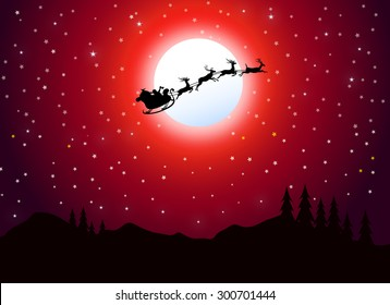 Santa Claus Flying at Christmas Night