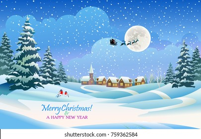 Santa Claus is flying in the Christmas night