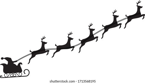 Santa Claus flying with deer reindeer sleigh. Merry Christmas and New year. Design element poster, banner, invitation, congratulations, postcards. Black silhouette. Isolation. Vector illustration