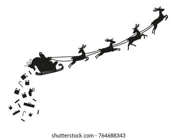 Santa Claus flying with deer in sleigh and drops presents. Black silhouette on white background. Christmas greeting card or flyer. Vector illustration