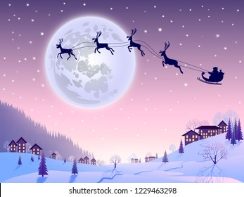 Santa Claus flying in his sleigh with reindeers. Winter landscape with snow, houses, trees, firs. Coniferous forest. Full moon background. Merry Christmas and Happy New Year. Vector illustration.