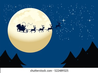 Santa Claus flying to the moon. Vector illustration for card or background.