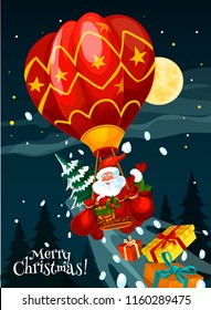 Santa Claus flying on hot air balloon Christmas holiday greeting card. Santa with Xmas tree and gift in basket of air balloon flying over New Year winter forest festive poster for Christmas design