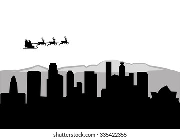 Santa Claus flying over Los Angeles City