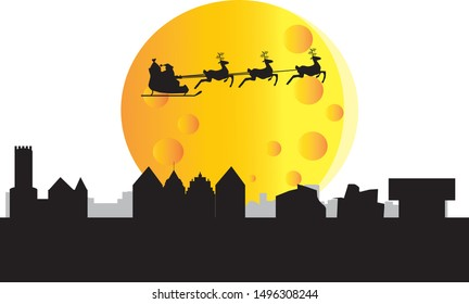 santa claus flying over skyline of Bielefeld city in Germany