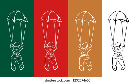 Santa Claus is flying with a parachute. The collection of vector doodles are hand-drawn Santa Claus illustrations. Christmas illustration.