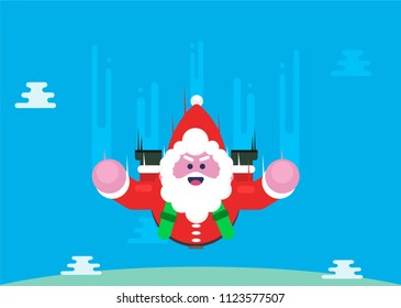 Santa Claus Flying with Parachute Vector Illustration - Parachutist Santa in the air
