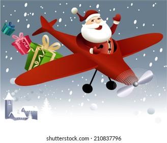 Santa Claus flying in plane