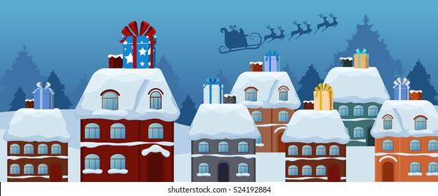 Santa claus flying with reindeer sleigh and big gift box on the roof. Merry christmas and Happy new year. Cartoon Vector Illustration.