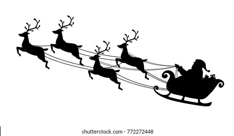 Santa Claus flying with reindeer sleigh. Black Silhouette. Symbol of Christmas and New Year isolated on white background. Vector illustration. Cartoon style