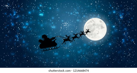 santa claus flying in sledge with reindeer night sky over full moon merry christmas happy new year concept horizontal flat vector illustration