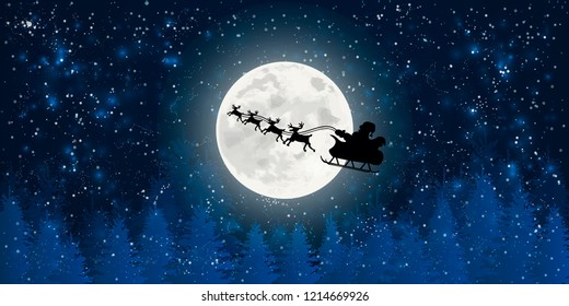 santa claus flying in sledge with reindeers night sky over full moon fir tree landscape merry christmas happy new year concept horizontal flat vector illustration