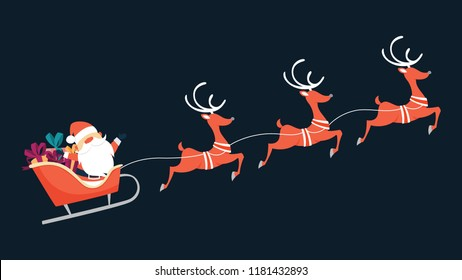 Santa Claus flying in sleigh with gifts and reindeer. Winter holiday, Christmas and New Year celebration. Flat vector illustration