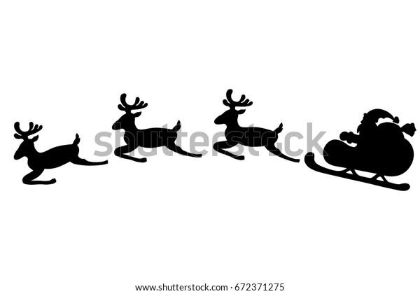 Image Vectorielle De Stock De Le Père Noël Vole En Traîneau