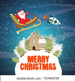 Santa Claus is flying in a sleigh with a small rocket over a small planet with a spruce forest and a house with a snow-covered roof. Christmas and New Year. Vector landscape