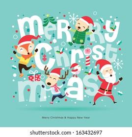 Santa Claus & friends Christmas card