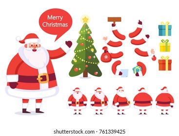 Santa Claus. Front, side, back, 3/4 view animated character. Character constructor. Cartoon style, flat vector illustration isolated on white.