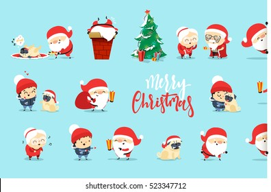 Santa Claus Funny Christmas characters in flat style. Set Santa Claus, small child, an elderly couple, grandparents, pet dog. Festive character for Christmas cards. Cute cartoon people.